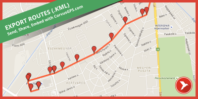 Export Routes to KML with CorvusGPS.com