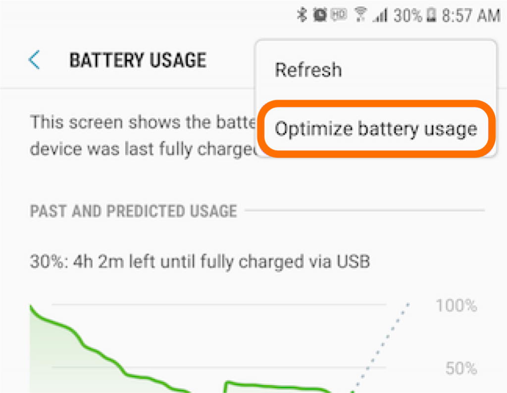 "Pick ""Optimize battery usage"" from the drop-down"